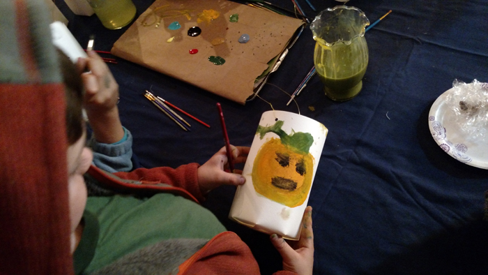 paintint a paper lantern halloween kids event