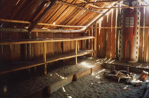 replica longhouse interior kalapuya western indians