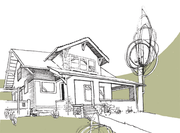 pironi house drawing historic Eugene oregon