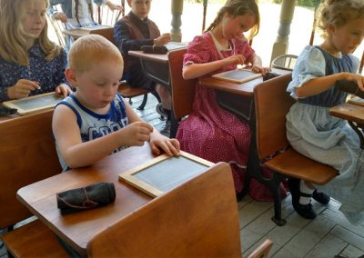 homeschool pioneer school desks children