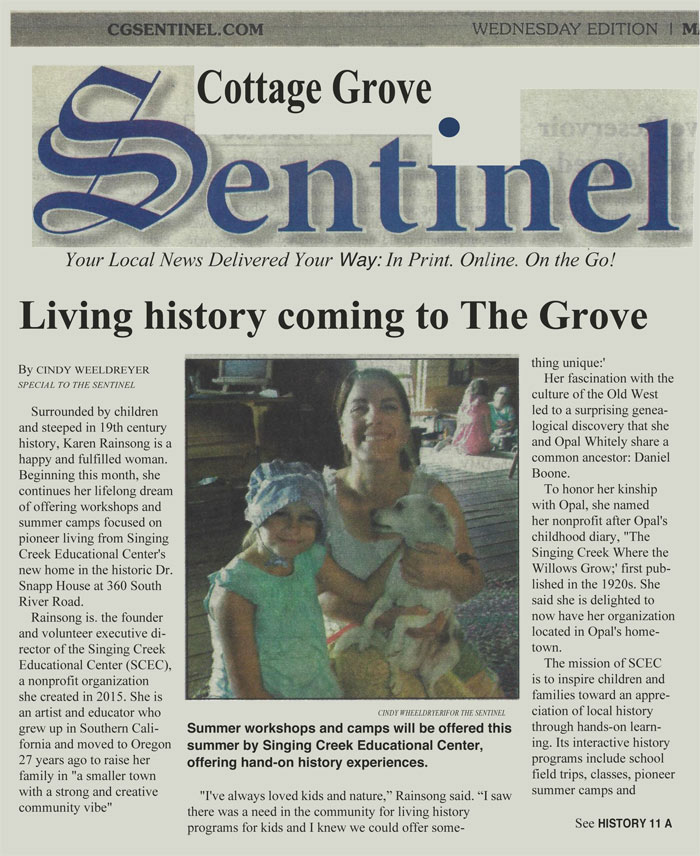 cottage grove sentinel article singing creek educational center