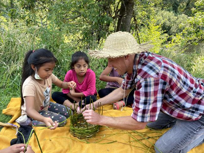 homeschool making a willow twig basket singing creek educational center kids