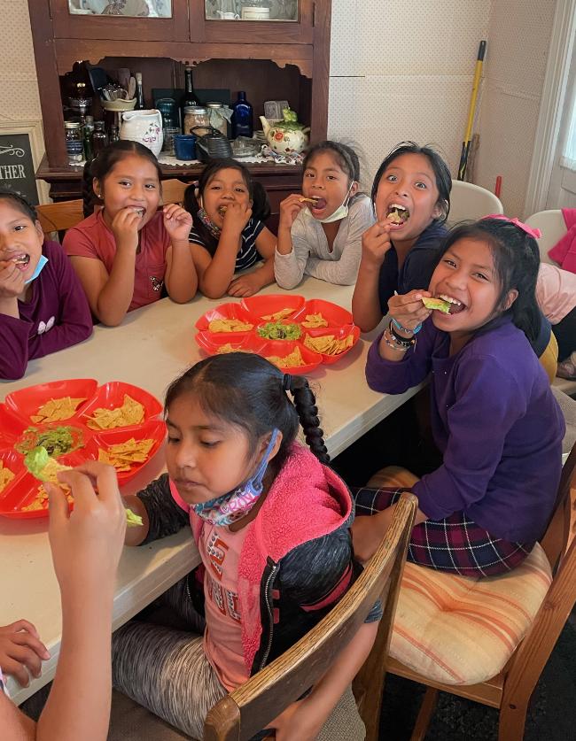 kids eating guacomole at summer camp
