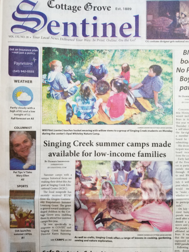cottage grove sentinel front page article scec summer camps